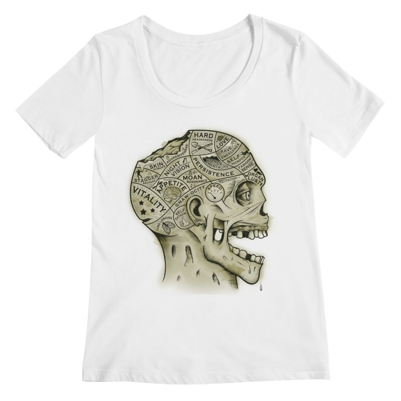 Zombie Phrenology Women's Scoopneck by Andy Pitts Artist Shop