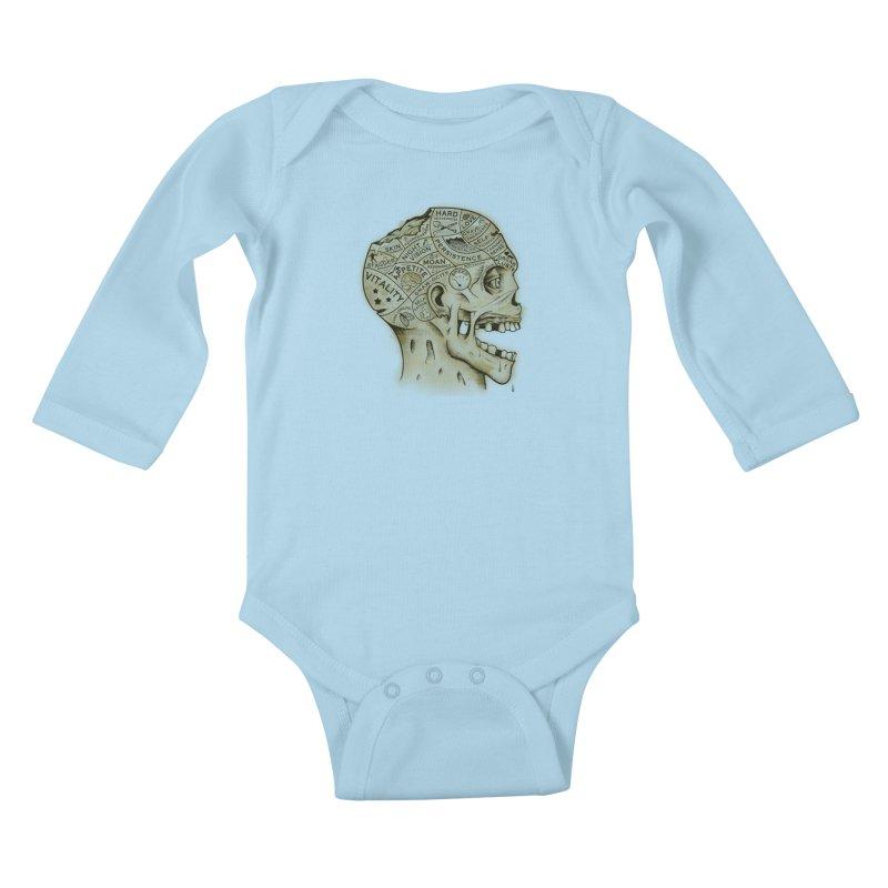 Zombie Phrenology Kids Baby Longsleeve Bodysuit by Andy Pitts Artist Shop