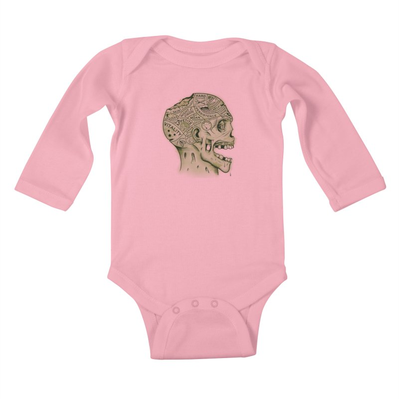Zombie Phrenology Kids Baby Longsleeve Bodysuit by Andy Pitts Artist Shop