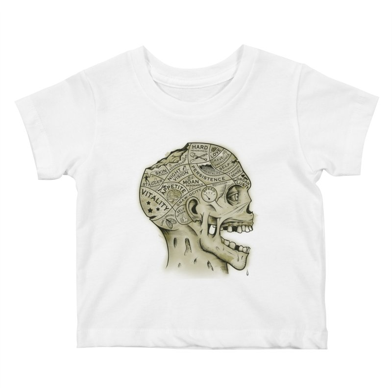 Zombie Phrenology Kids Baby T-Shirt by Andy Pitts Artist Shop