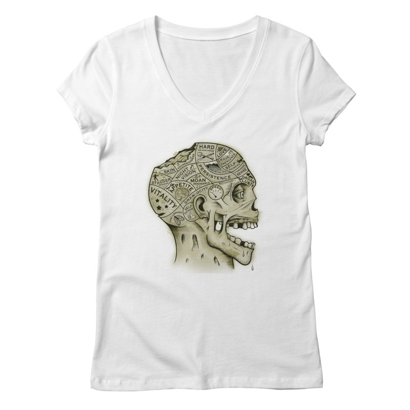 Zombie Phrenology Women's V-Neck by Andy Pitts Artist Shop