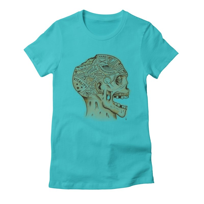 Zombie Phrenology Women's Fitted T-Shirt by Andy Pitts Artist Shop
