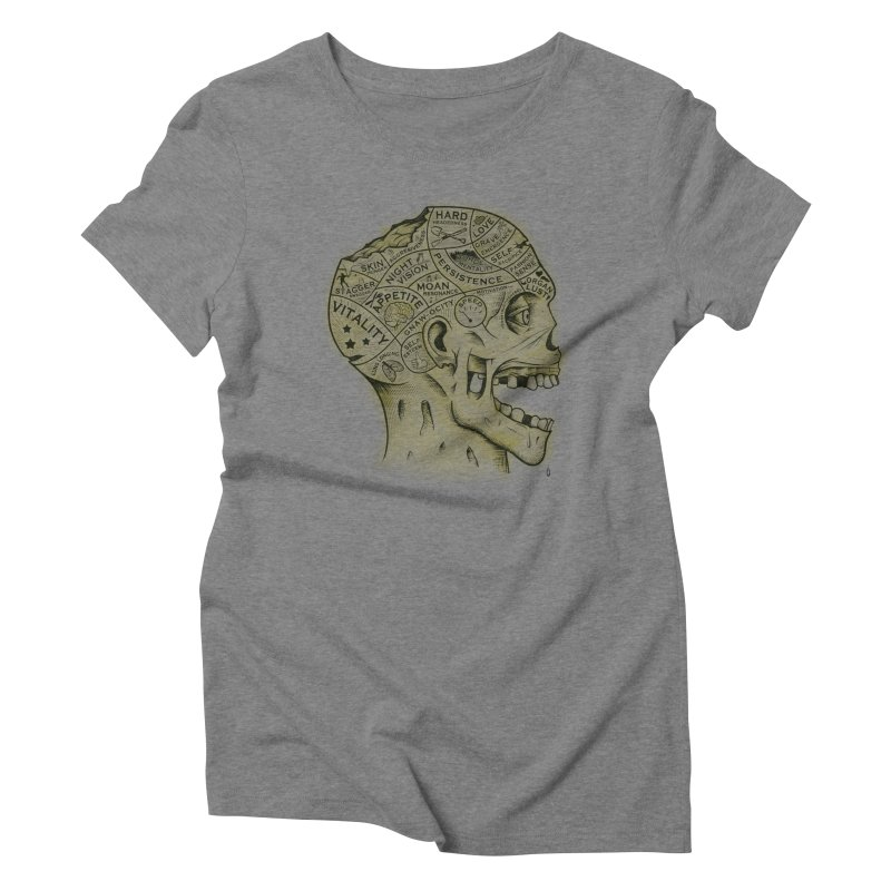 Zombie Phrenology Women's Triblend T-shirt by Andy Pitts Artist Shop