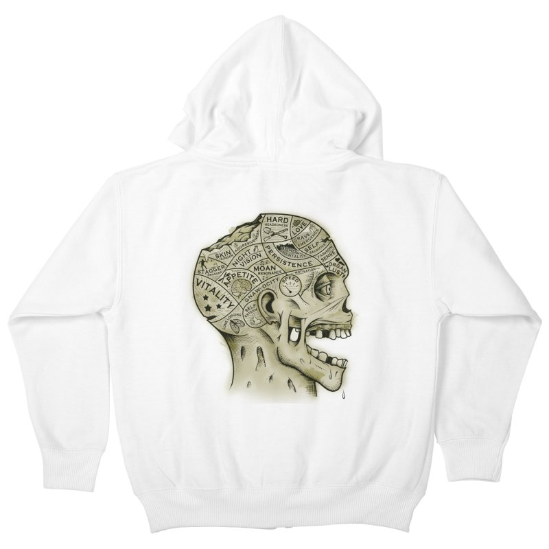 Zombie Phrenology Kids Zip-Up Hoody by Andy Pitts Artist Shop