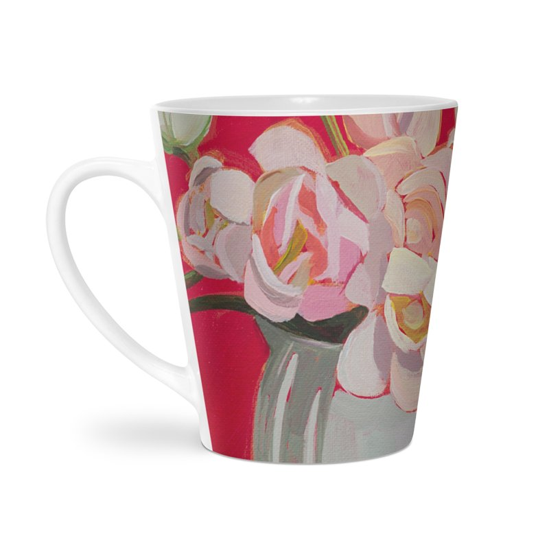 White Tulips on Red Art Mug Accessories Latte Mug by Mónica Linares Artist Shop