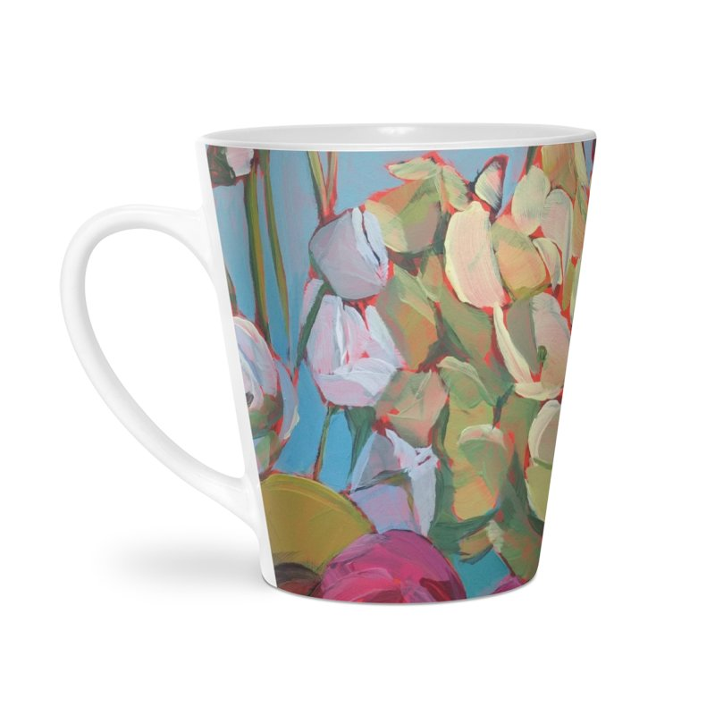Green Hydrangeas on Teal Art Mug Accessories Latte Mug by Mónica Linares Artist Shop