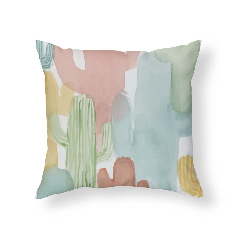 Watercolor Cacti Home Throw Pillow by moniquemodern's Artist Shop