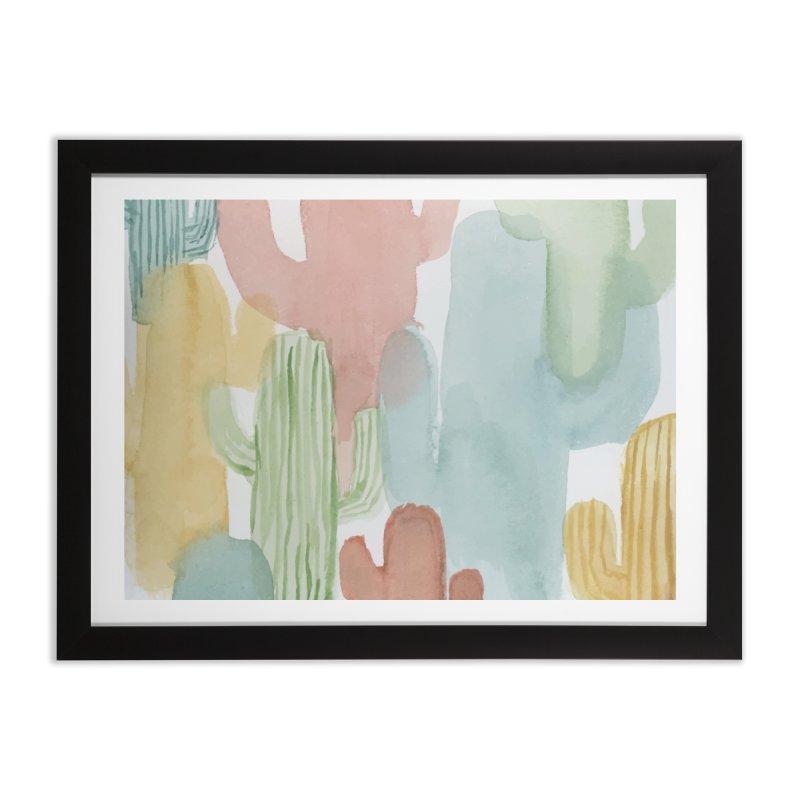 Watercolor Cacti Home Framed Fine Art Print by moniquemodern's Artist Shop