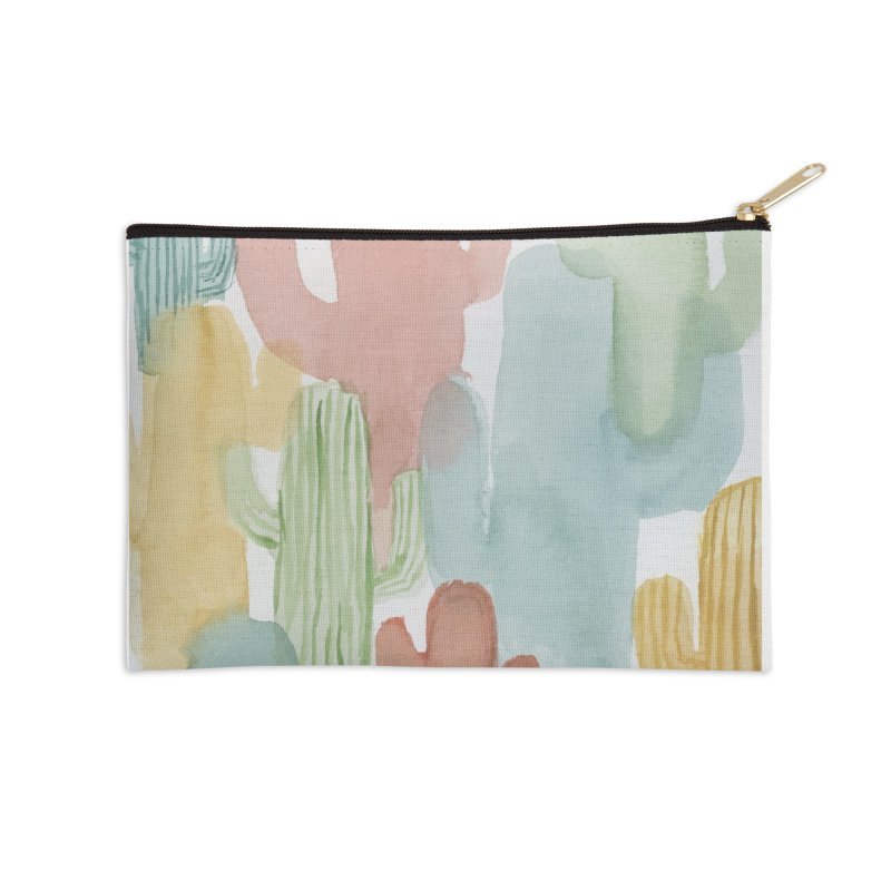 Watercolor Cacti Accessories Zip Pouch by moniquemodern's Artist Shop
