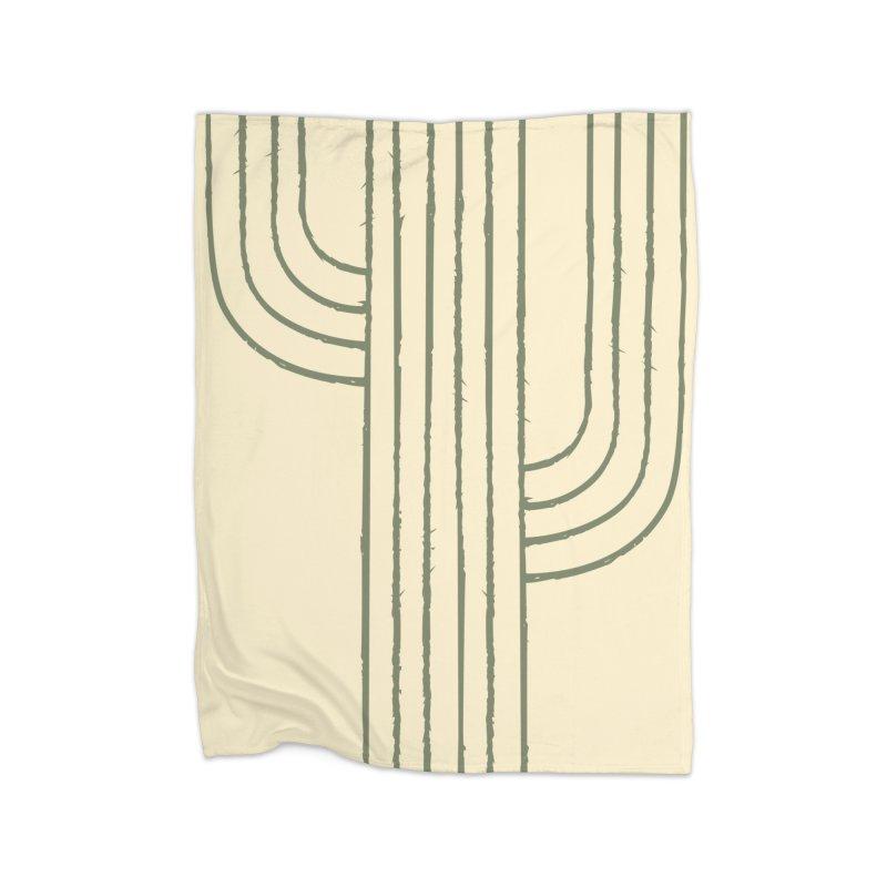Cactus Lines Home Fleece Blanket Blanket by moniquemodern's Artist Shop