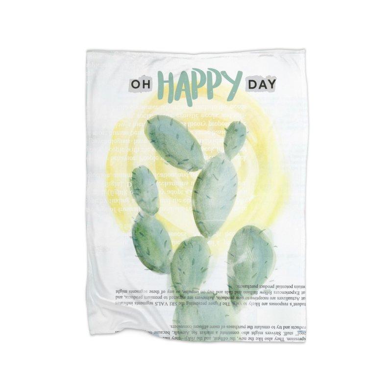 Oh Happy Day Home Fleece Blanket Blanket by moniquemodern's Artist Shop