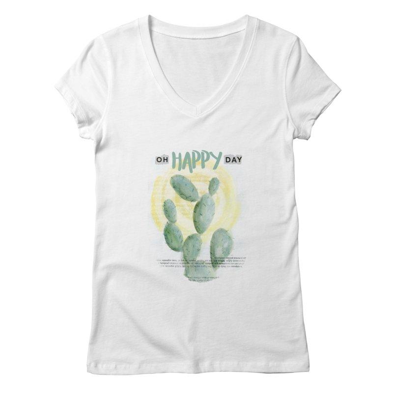 Oh Happy Day Women's Regular V-Neck by moniquemodern's Artist Shop