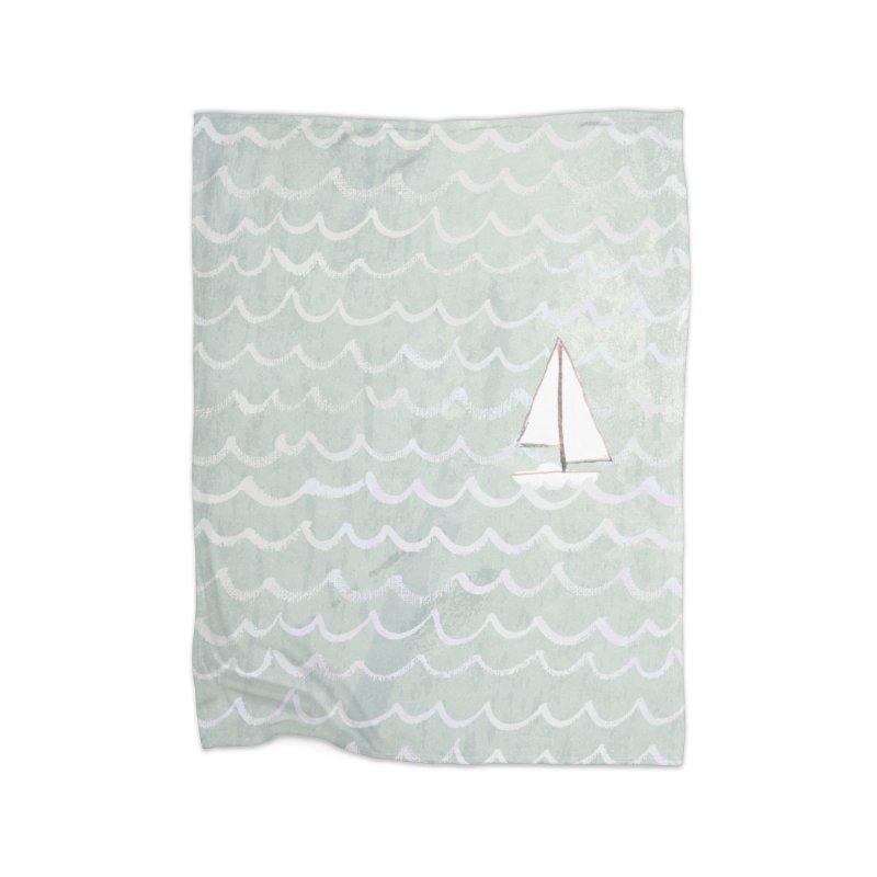 Sail the Sea Home Fleece Blanket Blanket by moniquemodern's Artist Shop