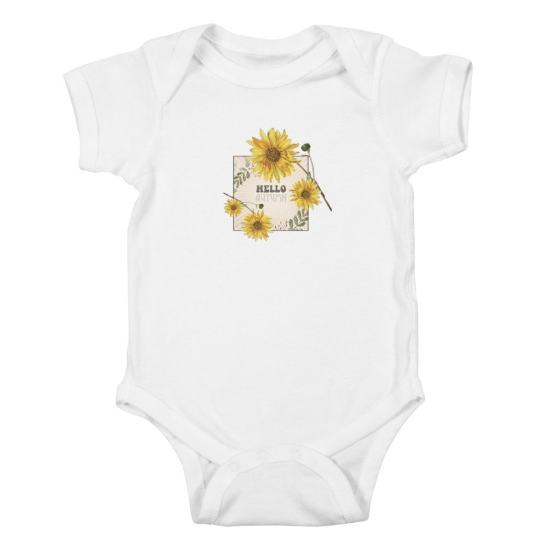 Hello Autumn Kids Baby Bodysuit by moniquemodern's Artist Shop