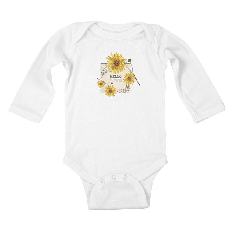 Hello Autumn Kids Baby Longsleeve Bodysuit by moniquemodern's Artist Shop