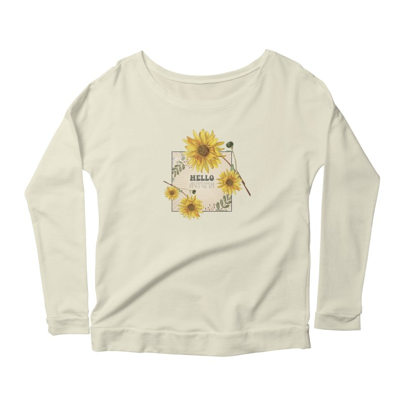 Hello Autumn Women's Longsleeve Scoopneck  by moniquemodern's Artist Shop