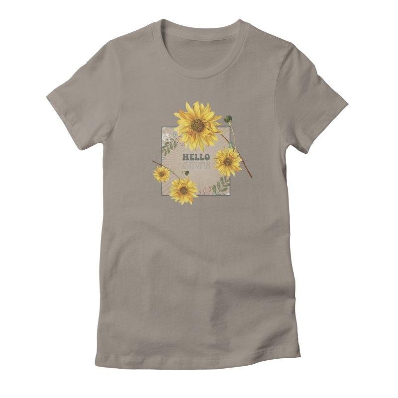Hello Autumn Women's Fitted T-Shirt by moniquemodern's Artist Shop