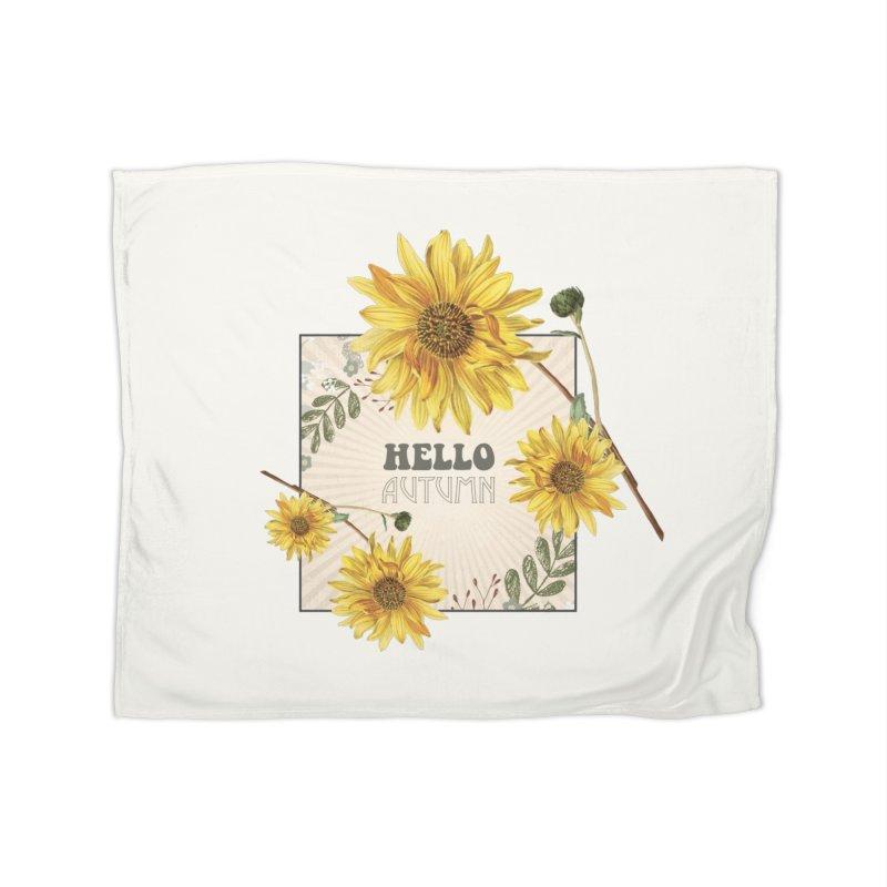Hello Autumn Home Fleece Blanket Blanket by moniquemodern's Artist Shop