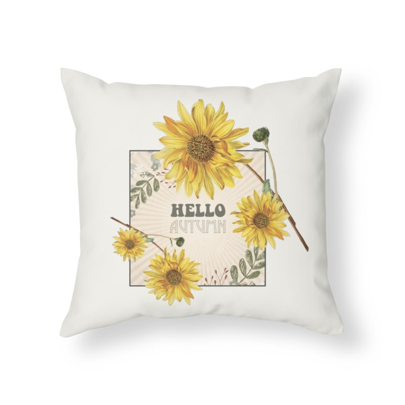 Hello Autumn Home Throw Pillow by moniquemodern's Artist Shop