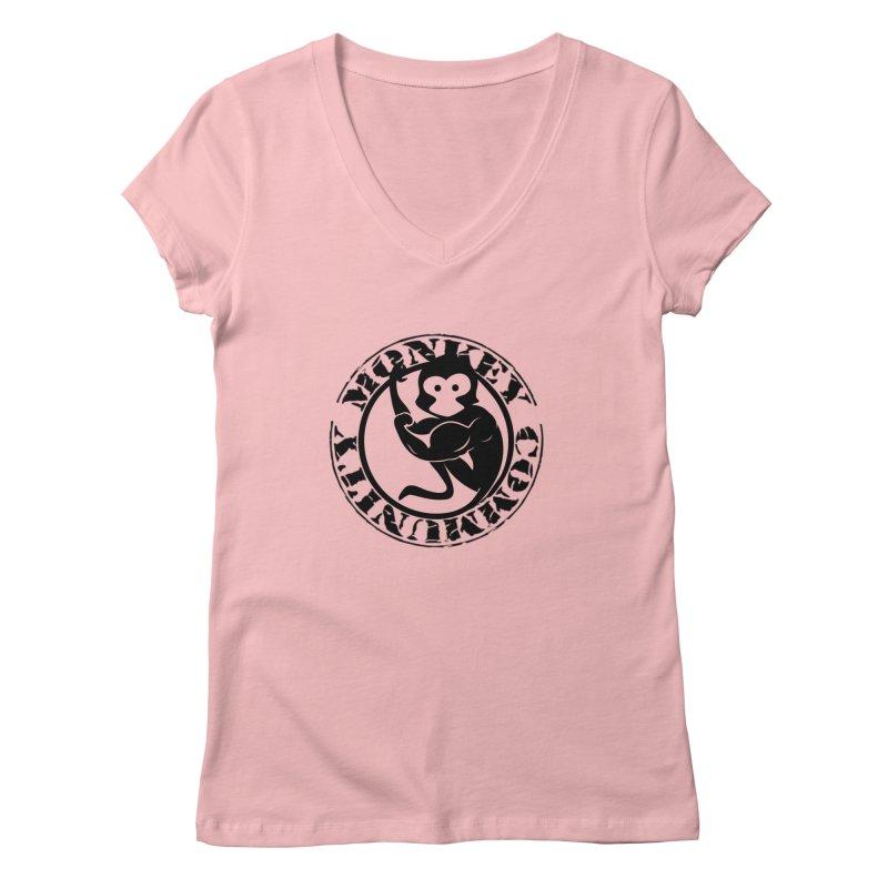 Monkey Community Women's Regular V-Neck by The m0nk3y Merchandise Store