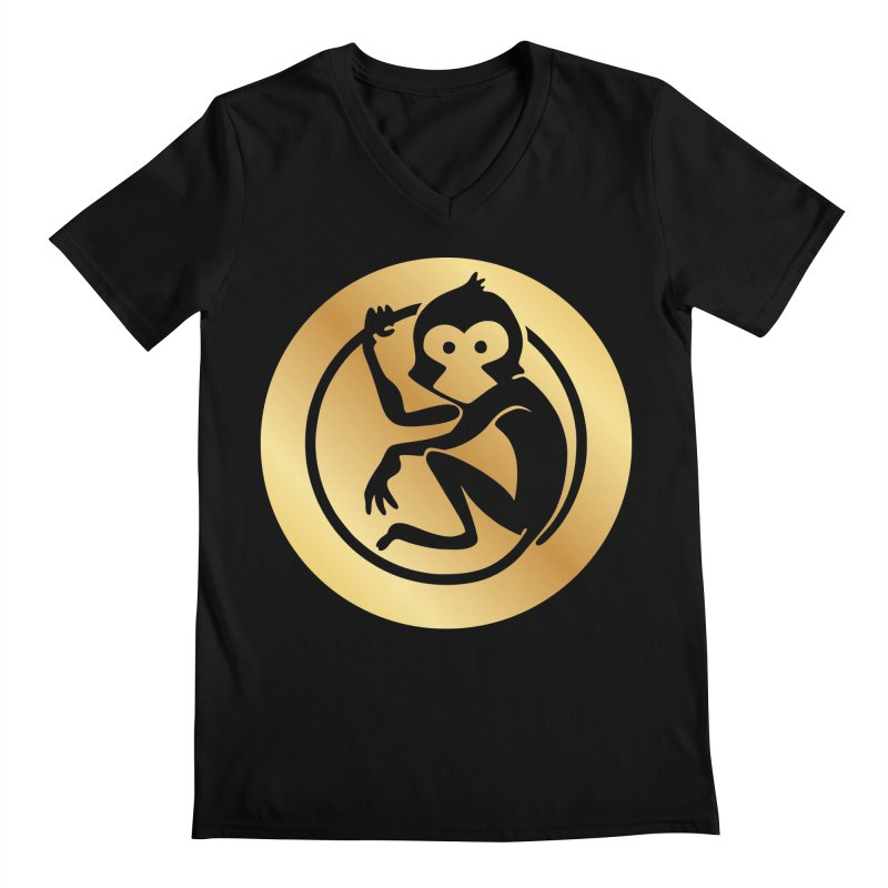 Monkey Gold Large Logo Men's V-Neck by The m0nk3y Merchandise Store