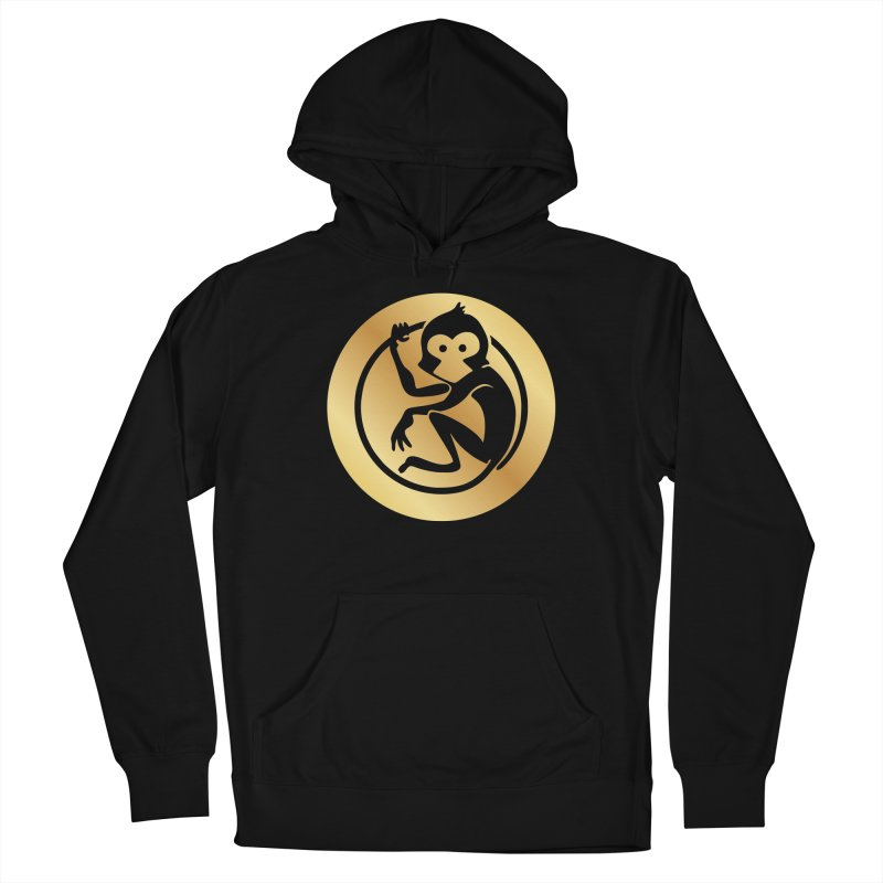 Monkey Gold Large Logo Men's French Terry Pullover Hoody by The m0nk3y Merchandise Store