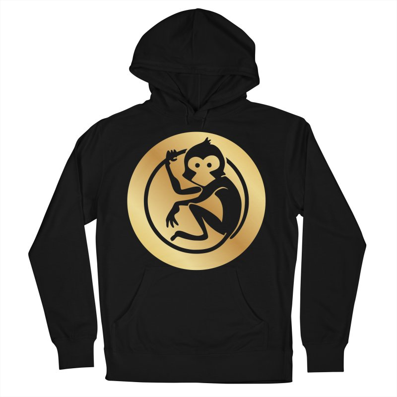 Monkey Gold Large Logo Women's French Terry Pullover Hoody by The m0nk3y Merchandise Store