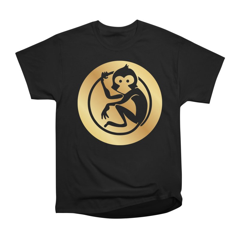 Monkey Gold Large Logo Women's Heavyweight Unisex T-Shirt by The m0nk3y Merchandise Store