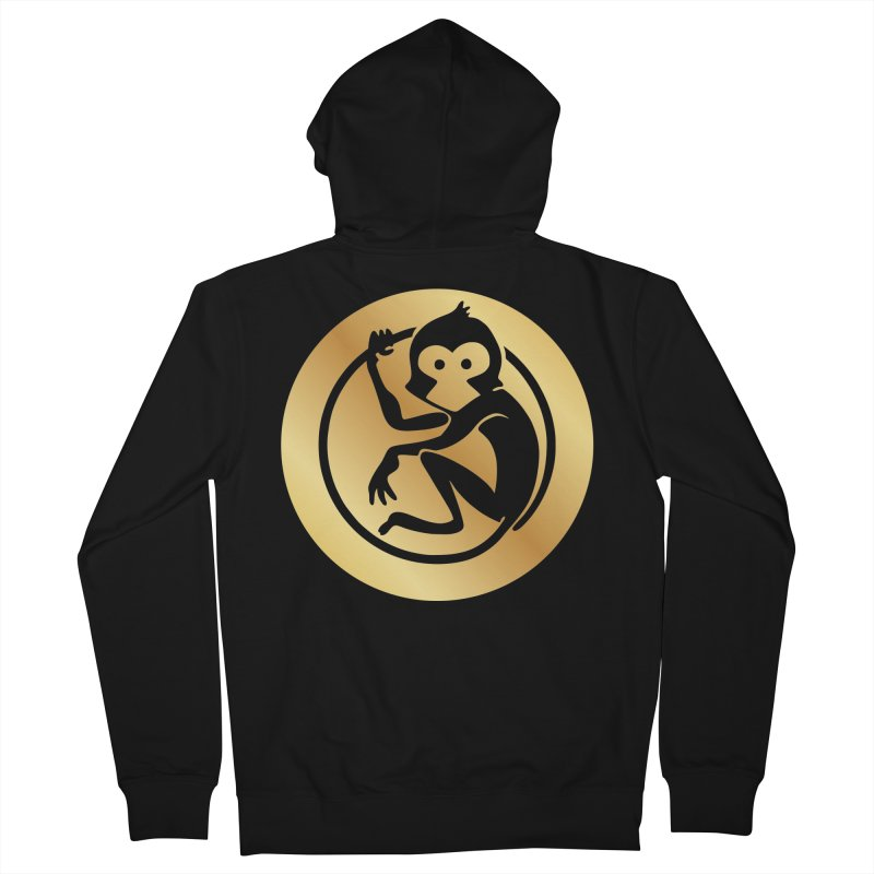 Monkey Gold Large Logo Men's French Terry Zip-Up Hoody by The m0nk3y Merchandise Store