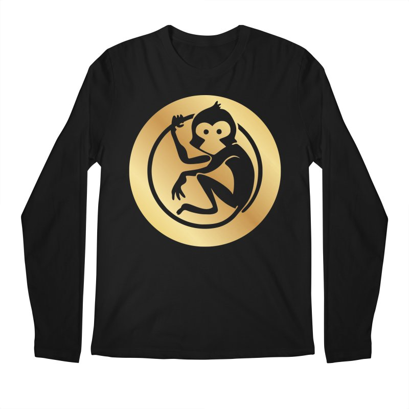 Monkey Gold Large Logo Men's Regular Longsleeve T-Shirt by The m0nk3y Merchandise Store