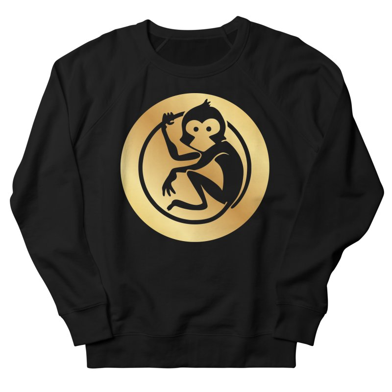 Monkey Gold Large Logo Men's French Terry Sweatshirt by The m0nk3y Merchandise Store