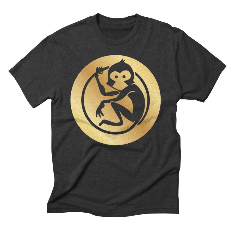 Monkey Gold Large Logo Men's Triblend T-Shirt by The m0nk3y Merchandise Store