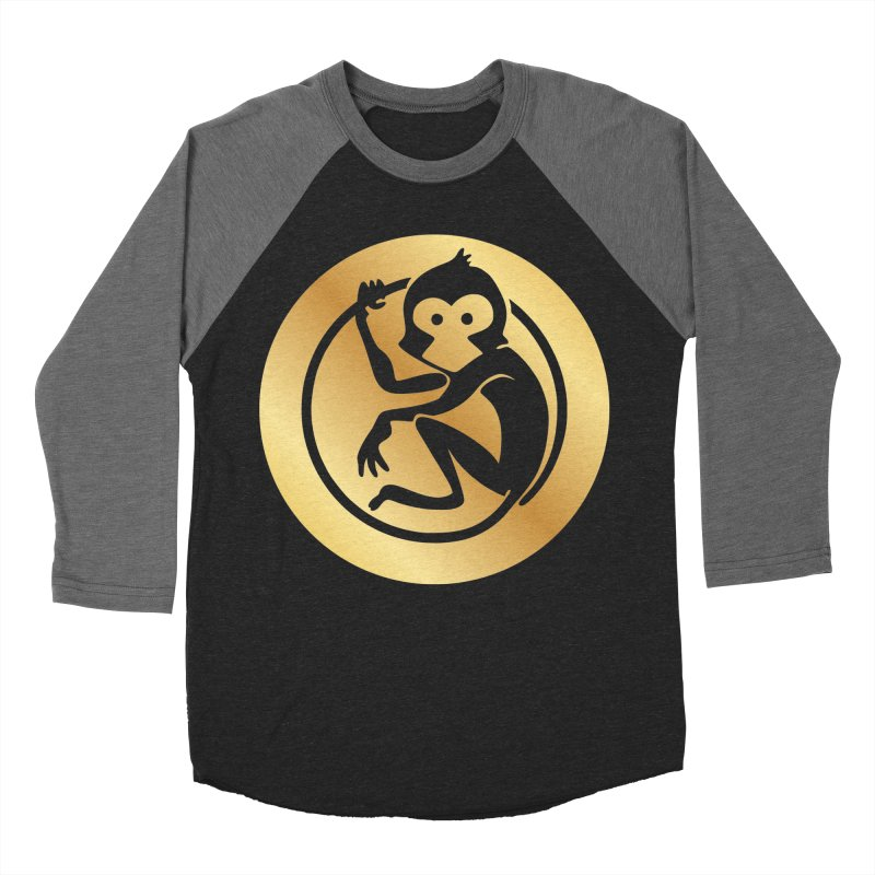 Monkey Gold Large Logo Women's Baseball Triblend Longsleeve T-Shirt by The m0nk3y Merchandise Store