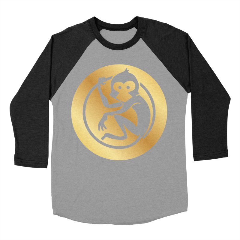 Monkey Gold Large Logo Men's Baseball Triblend Longsleeve T-Shirt by The m0nk3y Merchandise Store