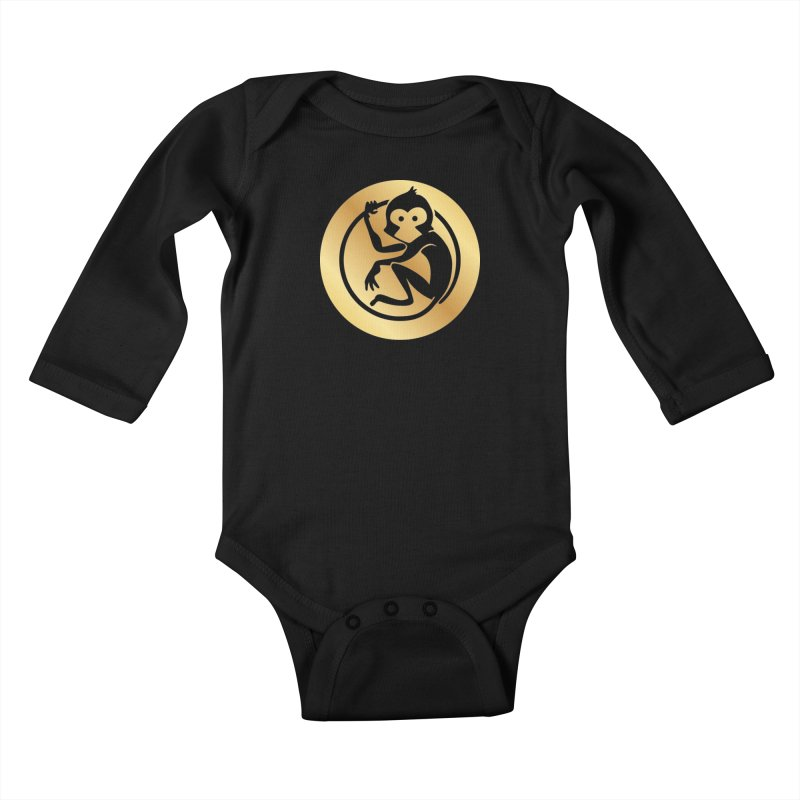 Monkey Gold Large Logo Kids Baby Longsleeve Bodysuit by The m0nk3y Merchandise Store
