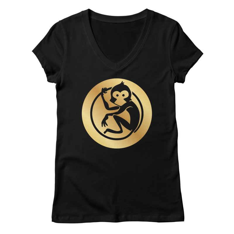 Monkey Gold Large Logo Women's V-Neck by The m0nk3y Merchandise Store