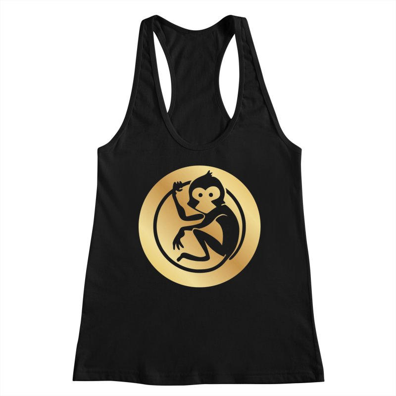 Monkey Gold Large Logo Women's Racerback Tank by The m0nk3y Merchandise Store