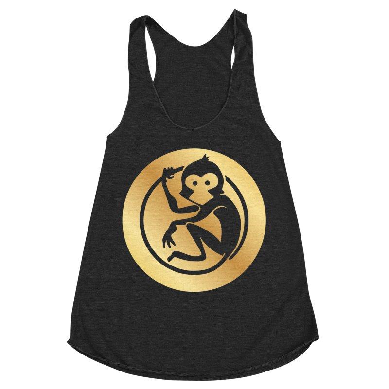 Monkey Gold Large Logo Women's Racerback Triblend Tank by The m0nk3y Merchandise Store