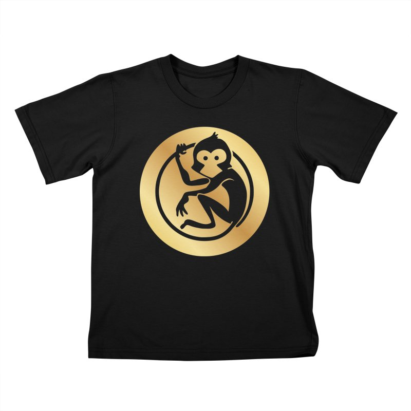 Monkey Gold Large Logo Kids T-Shirt by The m0nk3y Merchandise Store