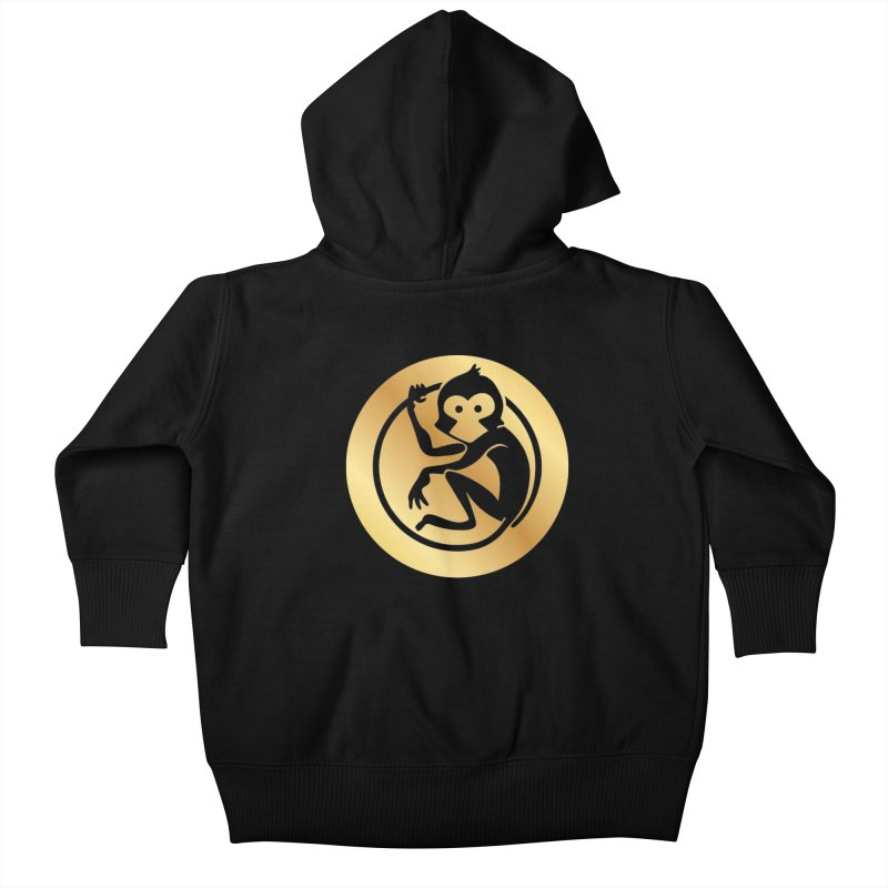 Monkey Gold Large Logo Kids Baby Zip-Up Hoody by The m0nk3y Merchandise Store
