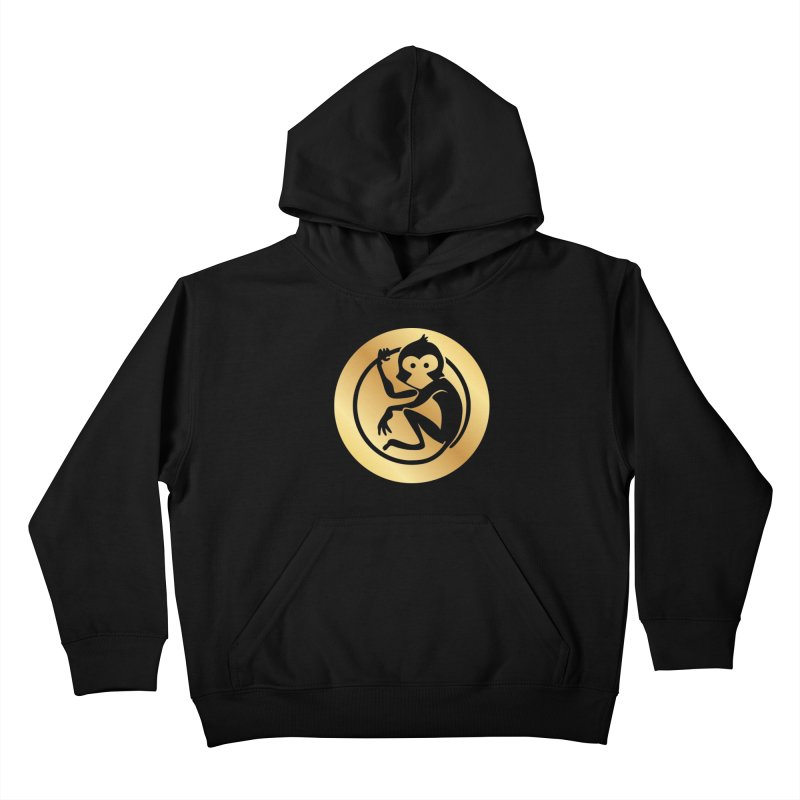 Monkey Gold Large Logo Kids Pullover Hoody by The m0nk3y Merchandise Store