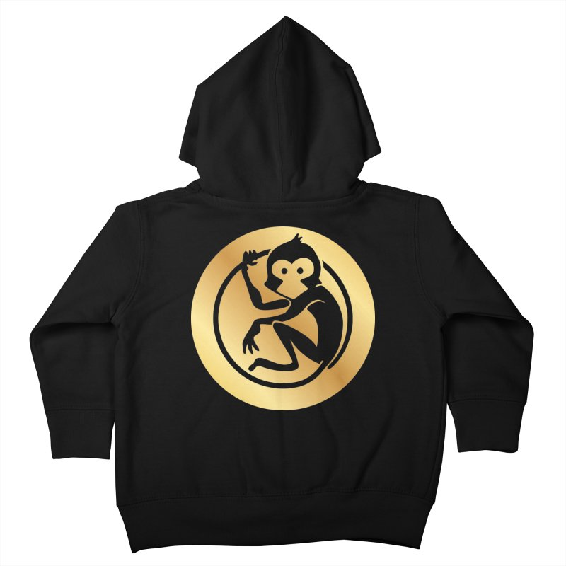 Monkey Gold Large Logo Kids Toddler Zip-Up Hoody by The m0nk3y Merchandise Store