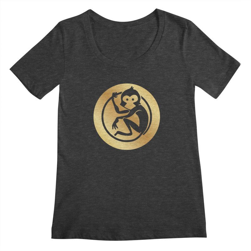 Monkey Gold Large Logo Women's Regular Scoop Neck by The m0nk3y Merchandise Store