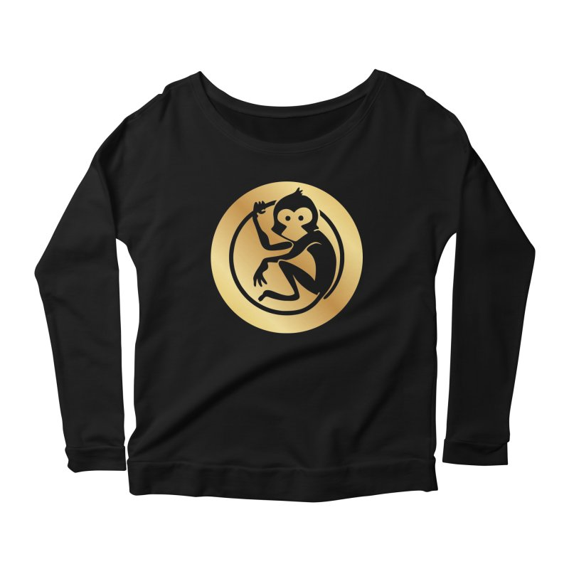 Monkey Gold Large Logo Women's Scoop Neck Longsleeve T-Shirt by The m0nk3y Merchandise Store
