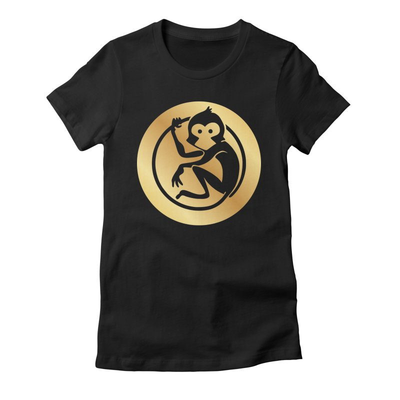 Monkey Gold Large Logo Women's Fitted T-Shirt by The m0nk3y Merchandise Store