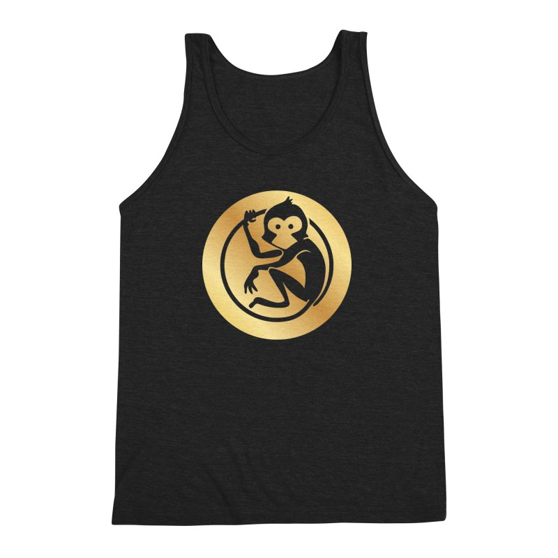 Monkey Gold Large Logo Men's Triblend Tank by The m0nk3y Merchandise Store