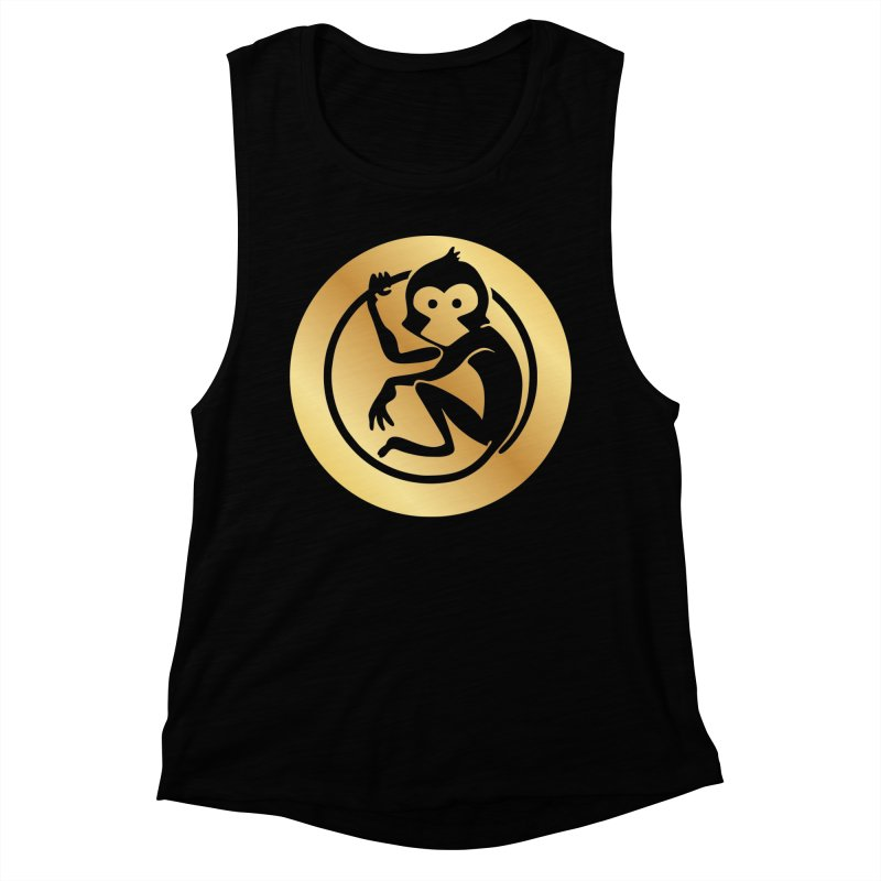 Monkey Gold Large Logo Women's Muscle Tank by The m0nk3y Merchandise Store