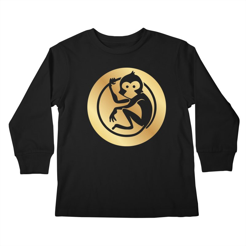 Monkey Gold Large Logo Kids Longsleeve T-Shirt by The m0nk3y Merchandise Store