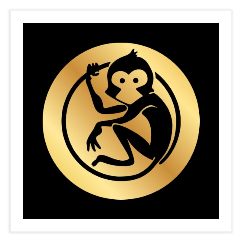 Monkey Gold Large Logo Home Fine Art Print by The m0nk3y Merchandise Store