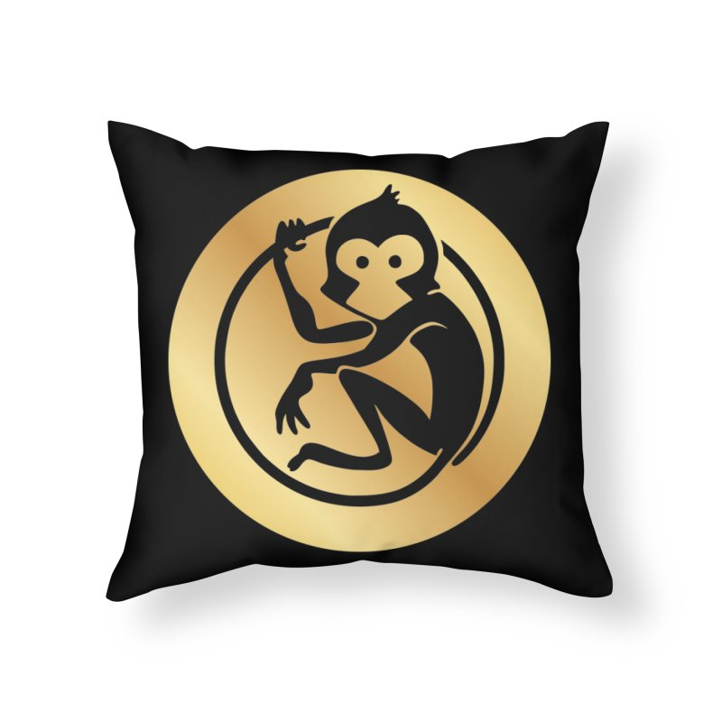 Monkey Gold Large Logo Home Throw Pillow by The m0nk3y Merchandise Store